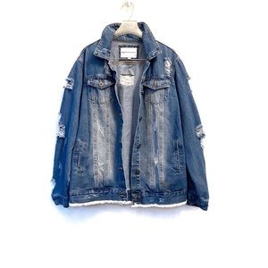 Jackets & Blazers - Oversized Jean Jacket Boyfriend Fit Distressed S